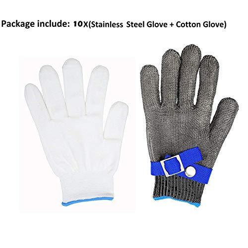 316L Stainless Steel Mesh Cut Resistant Gloves Kitchen Butcher Safety  Working Glove Level 5 Protection Size L (10)