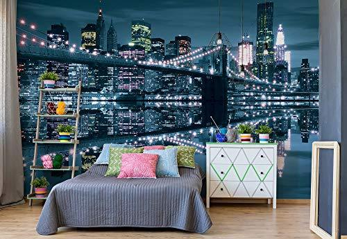New York City Skyline Brooklyn Bridge Photo Wallpaper Wall Mural Easyinstall Paper Giant Wall Poster Xxxl 416cm X 254cm Easyinstall
