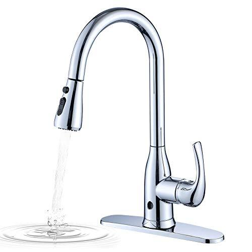 Touchless Kitchen Sink Tap, One Lever High Arc Pull-Down Kitchen Faucet,  Two-Sensor Modern Design Hot and Cold Water Mixer Tap with UK Standard ...