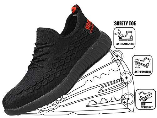 Lightweight Safety Shoes Men Women Work Shoes Steel Toe Breathable Protective Sneakers,Black 37