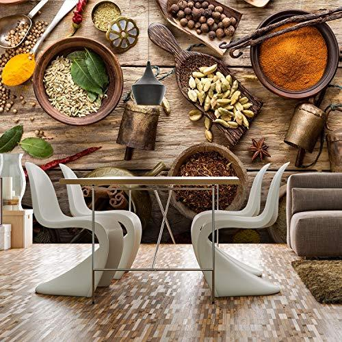 wandmotiv24 Wall Mural Spices Kitchen Wood S 200 x 140cm - 4 Strips -  Non-Woven Wall murals, Motivational Wallpapers, Non-Woven Wood Look,  Cinnamon, ...