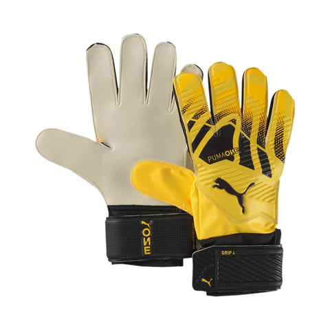 Puma One Grip 4 Yellow Soccer Goalie Gloves