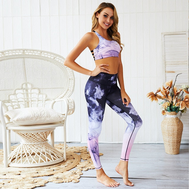 Printed leggings+sports bra