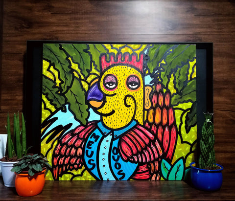 The New Rooster / Acrilic and markers on canvas  60x80cm