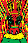 Donkey in carnival / 4 inks silk screen poster 20x30cm