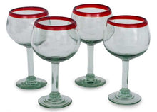 Load image into Gallery viewer, NOVICA Hand Blown  Recycled Glass Wine Glasses 12 oz 'Ruby Globe' (set of 4)