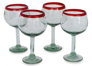 NOVICA Hand Blown  Recycled Glass Wine Glasses 12 oz 'Ruby Globe' (set of 4)