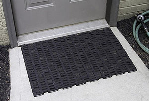 Durable Durite Recycled Tire-Link Outdoor Entrance Mat, Herringbone Weave