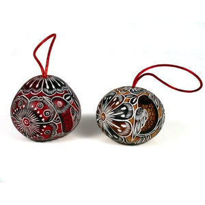 "Peruvian Gourd Multicolored Carved Ornament - 3"" - 12 Pack"