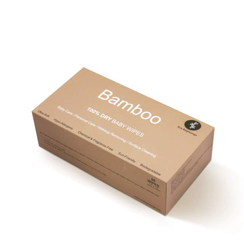 100% Bamboo Dry Baby Wipes, 80 Disposable Wipes in a Plastic-Free Box