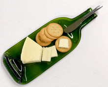 Load image into Gallery viewer, Melted Wine Bottle Serving Tray with Cheese Spreader - For the Wine Lover