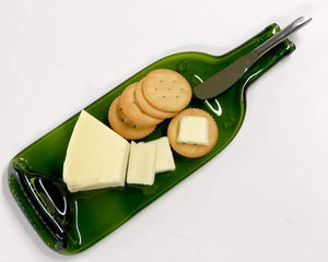 Melted Wine Bottle Serving Tray with Cheese Spreader - For the Wine Lover