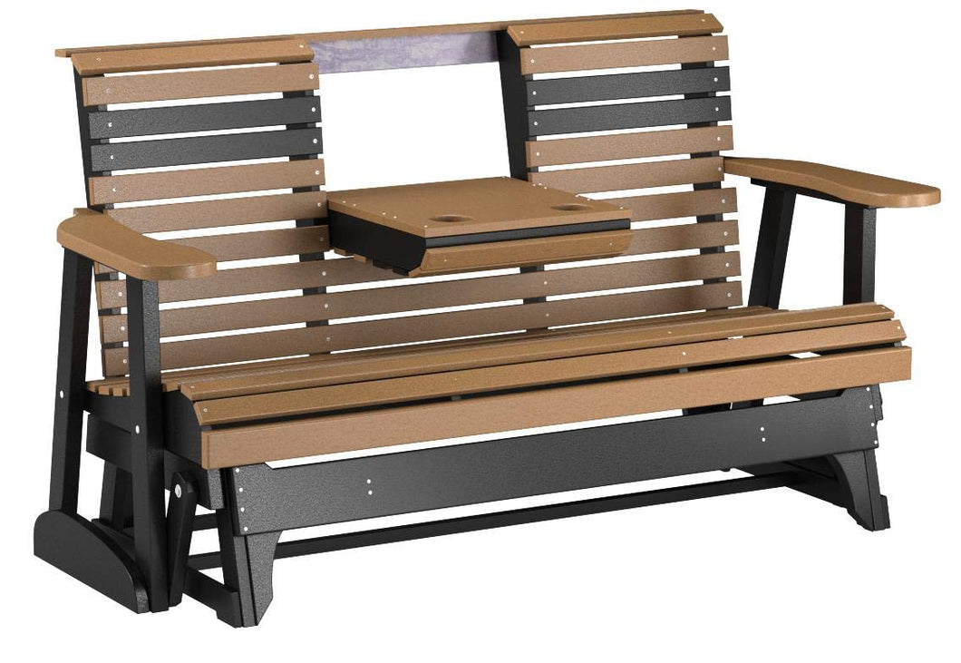 Rollback Recycled Plastic 5ft. Patio Glider with Center Console
