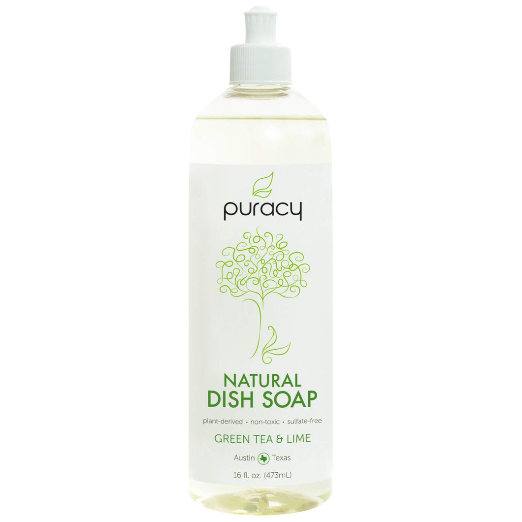 Natural Dish Soap, Sulfate-Free Liquid Detergent, Green Tea & Lime