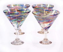 Load image into Gallery viewer, Multi-color 12 Ounce Twisted Martini Glasses-