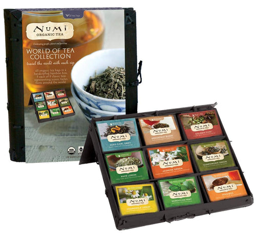 Numi  World of Organic Tea Variety Gift Set, 45 Black, Green, Mate & Herbal Tea Bags in Bamboo Chest