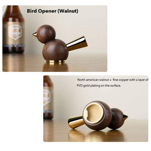 Handcrafted Bird Shaped Black Walnut and Copper  Beer Bottle Opener