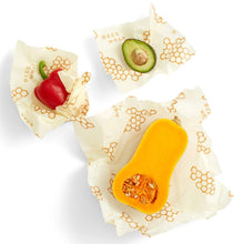 Load image into Gallery viewer, Reusable Beeswax Food Wraps with Jojoba Oil - Assorted Set of 3