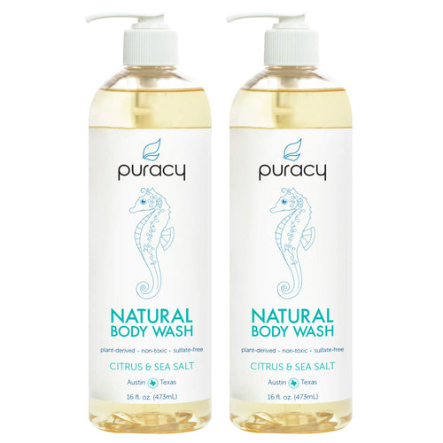 Puracy Natural Body Wash, Citrus & Sea Salt, Bath & Shower Gel for Men and Women, 16 Ounce (2-Pack)