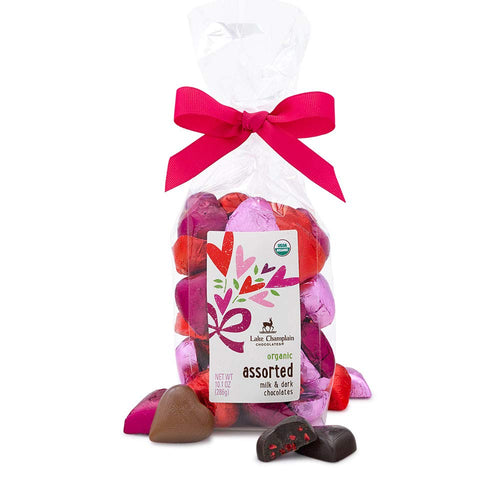 Assorted Heart Shaped Organic Chocolate Candy Valentine Gift Bag, 35 Pieces, 10.1 Ounces