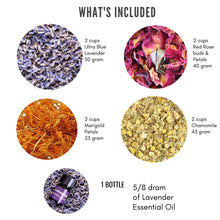 Load image into Gallery viewer, Bulk Flower Kit Chamomile, Lavender, Red Rose Buds & Petals, Marigold with Lavender Essential Oil