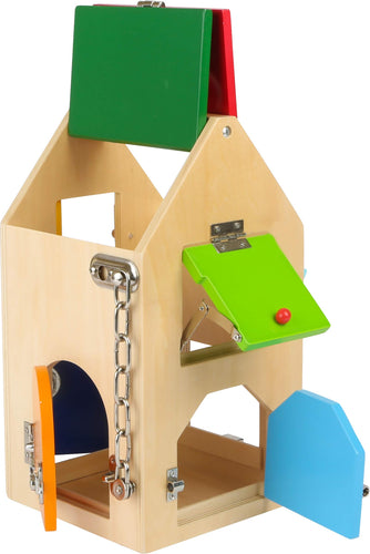 Small Foot Wooden House of Locks with Locks, Bolts, Levers, Hinges & Safety Chain Playset Designed for Children 3+