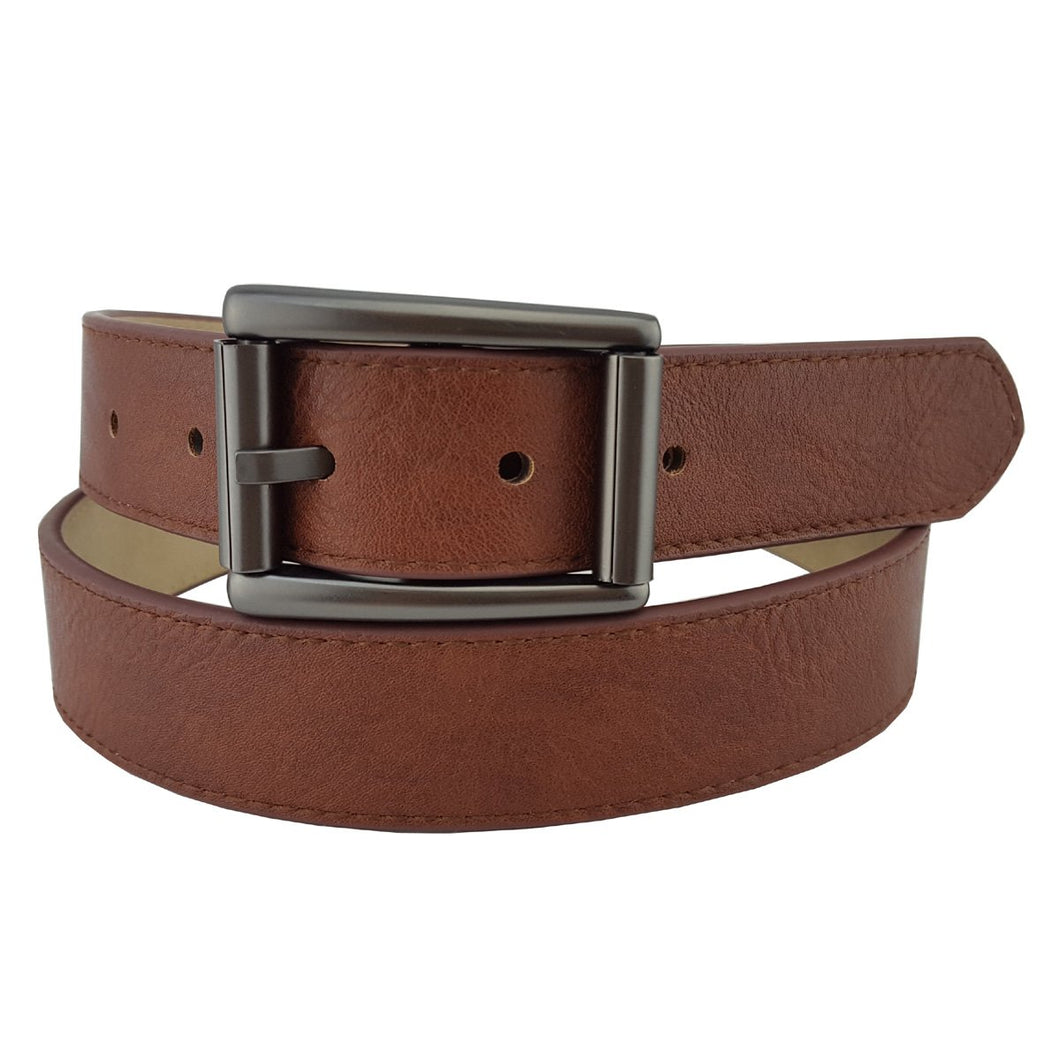 Vegan Leathrette Jean Belt with Matte Pearlized Black Buckle in Brown S/M
