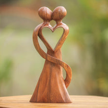 "Load image into Gallery viewer, NOVICA 143906"" My Heart and Yours Wood Statuette"