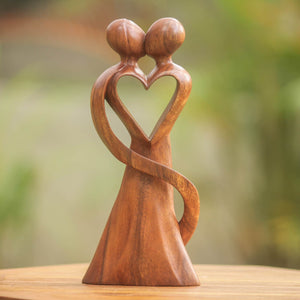 "NOVICA 143906"" My Heart and Yours Wood Statuette"