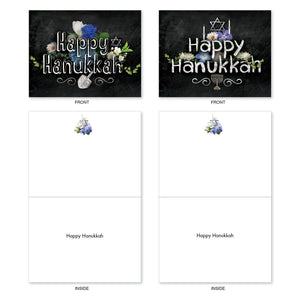 "'Hanukkah Chalk And Roses' Assorted Cards (Size 4"" x 5.12"")"