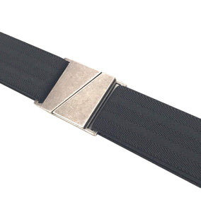 Adjustable Vegan Stretch Belt, Skinny Belt w/ No Show Flat Buckle (Nickle Free)