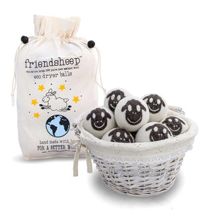 Organic Eco Wool Dryer Balls - 6 Pack - 100% Handmade, Fair Trade, Organic