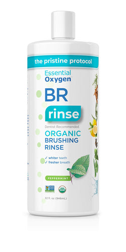Organic Brushing Rinse,  Alcohol-free Mouthwash for Whiter Teeth, Fresher Breath, and Happier Gums, 32 Ounce