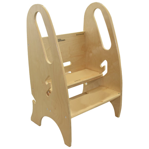 Adjustable Height Step Stool - Non-Tip Wooden Design