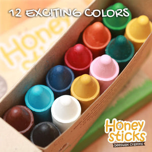 100% Pure Beeswax Crayons Natural, Non Toxic, Safe for Children 1 Year Plus (12 Pack with Book)