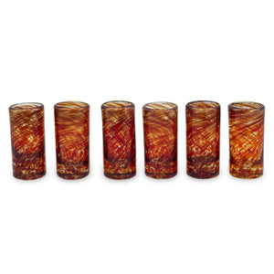 Hand Blown Red Recycled Glass Shot Glasses, 2 oz 'Ripe Ruby' (set of 6)