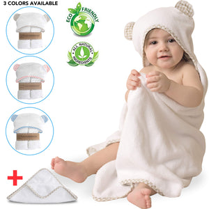 Baby Hooded Bamboo Towel and Washcloth Gift Set