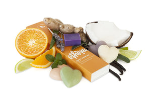 Ethique Eco-Friendly Body Sampler, 5 Piece Variety Pack Heart - shaped Soap, Deodorant, Scrub
