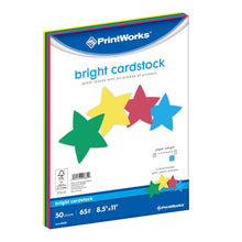 "Load image into Gallery viewer, Printworks Bright Cardstock, 65 lb, 4 Assorted Bright Colors, FSC Certified, 50 Sheets, 8.5"" x 11"""