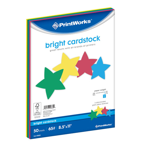 Printworks Bright Cardstock, 65 lb, 4 Assorted Bright Colors, FSC Certified, 50 Sheets, 8.5
