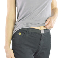 Load image into Gallery viewer, Adjustable Vegan Stretch Belt, Skinny Belt w/ No Show Flat Buckle (Nickle Free)