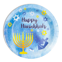"Load image into Gallery viewer, Hanukkah Paper 9"" Party Plates - 80 Pack"