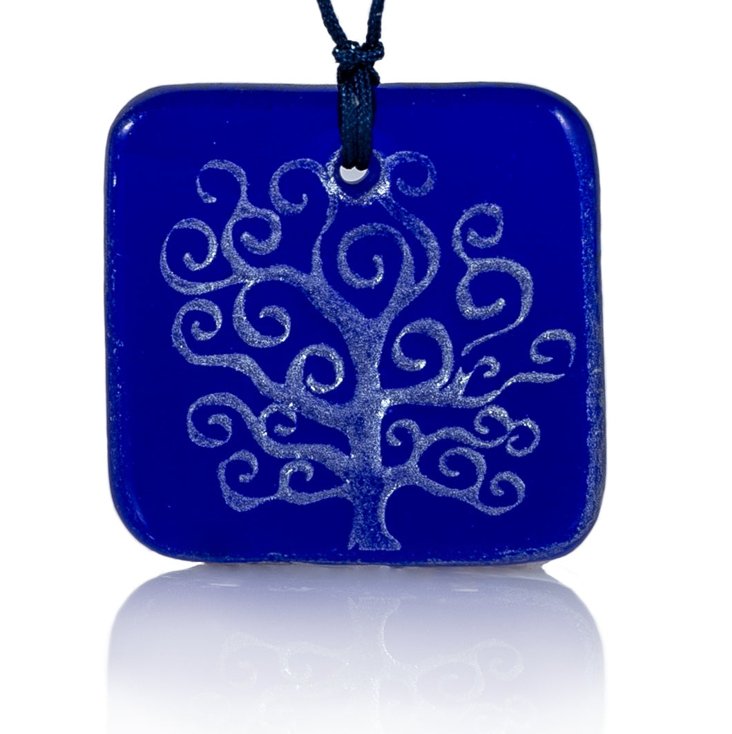 Unique Recycled Glass Tree of Life Pendant Necklace, Handmade, Fair Trade
