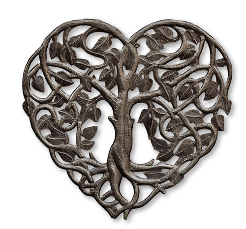 Metal Heart-Shaped Tree of Life  Haitian Hand Made Wall Decor, 14.25 in. X 14.25 in.