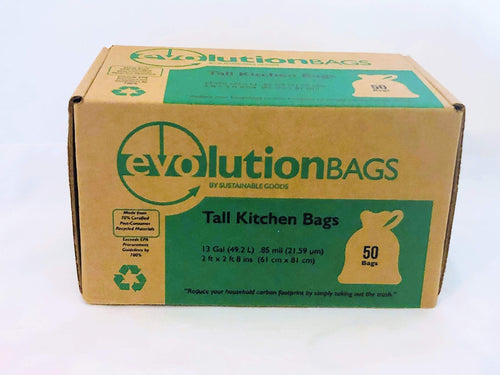 Evolution 70% Certified PCR Tall Kitchen Trash Bag, 50 Bags/Box