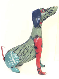 Handmade Dog Metal Sculpture for Home and Garden Décor - from Recycled Materials