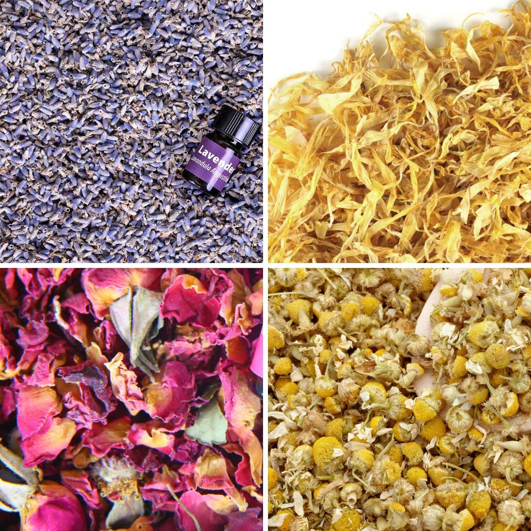 Bulk Flower Kit Chamomile, Lavender, Red Rose Buds & Petals, Marigold with Lavender Essential Oil