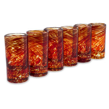 Load image into Gallery viewer, Hand Blown Red Recycled Glass Shot Glasses, 2 oz 'Ripe Ruby' (set of 6)