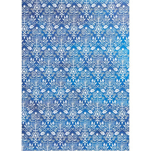 "Blue Menorah Hanukkah Gift Wrap - Two 26"" x 38"" Rolls"