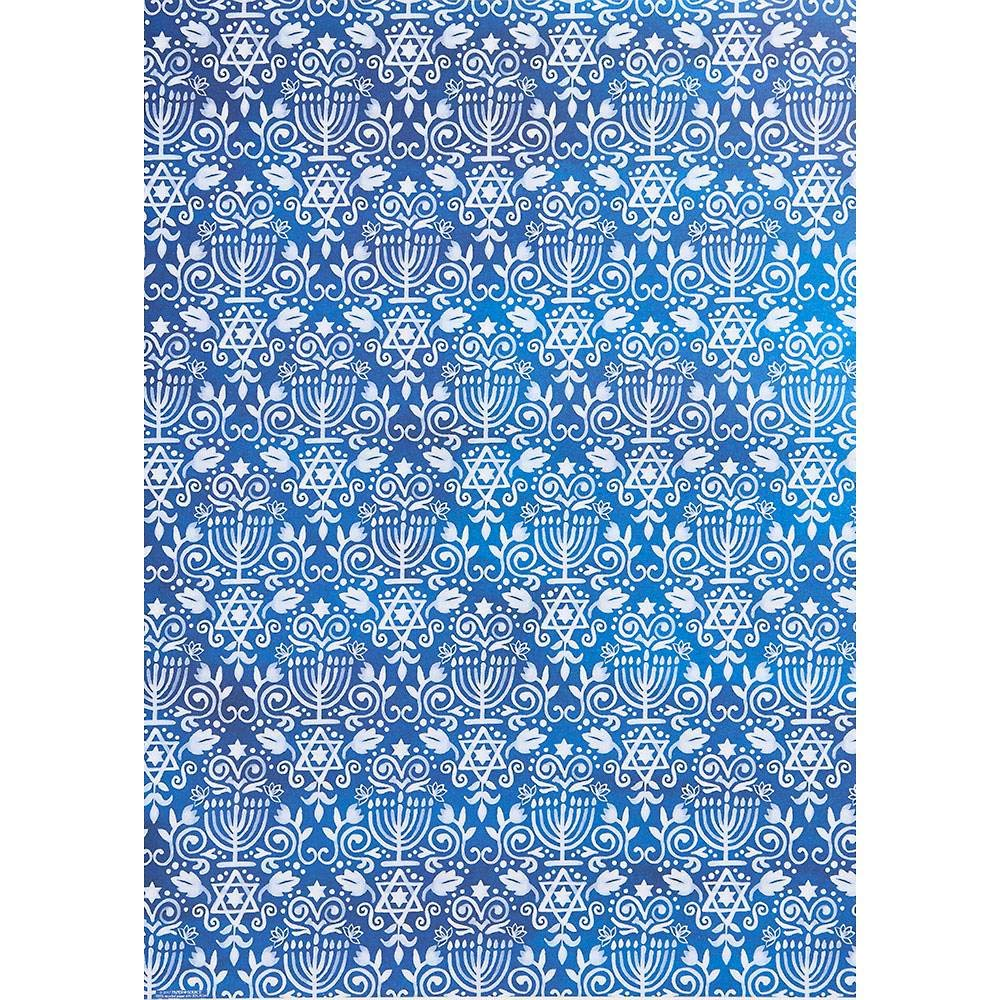 Blue Menorah Hanukkah Gift Wrap - Two 26